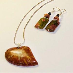 Australian Norene Jasper Heart Necklace & Earrings
